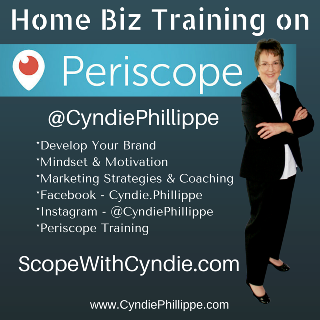 Join Me LIVE on Periscope!  @CyndiePhillippe