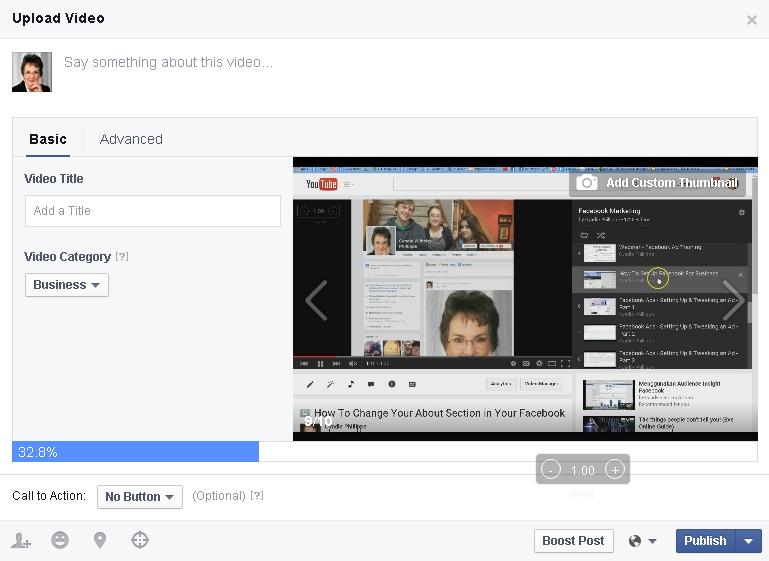 Facebook Video Upload Popup